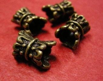 6pc antique bronze nickel free fancy bead-141A