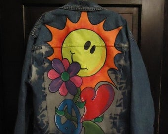 Vintage 90s Handpainted Jean Jacket Smiley Face Oversized WOW