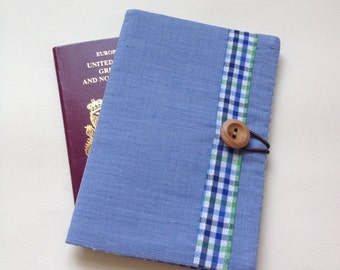 Passport cover case blue and check fabric