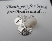 SALE 15% OFF -Personalized Sterling Silver Charm Bracelet, Sand Dollar, Maid of Honor, Bridesmaid Gift,  Beach Wedding Theme