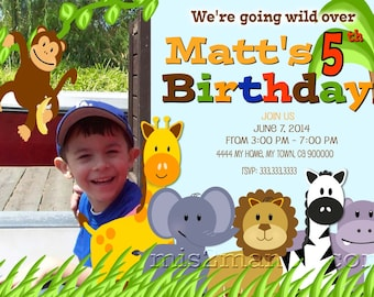Jungle Birthday Party Invite- DIY printable party invitation Printable Photo Prints