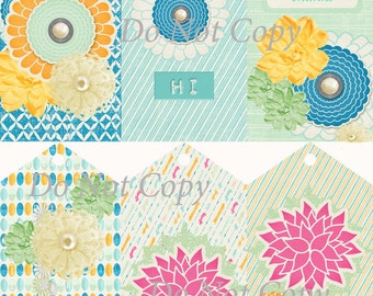 Digital Download Tags Gift Tags Blue and Mint Floral Collage Printable Scrapbook