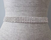 4 row Silver Rhinestone bridal wedding sash / belt, bridesmaid sash