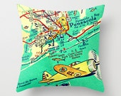 Pensacola Map Pillow Cover, Beach House Pillow, Pensacola Pillow, Retro Florida Map, Airplane Pillow,  Coast Guard, Navy Boy's Room Pillow