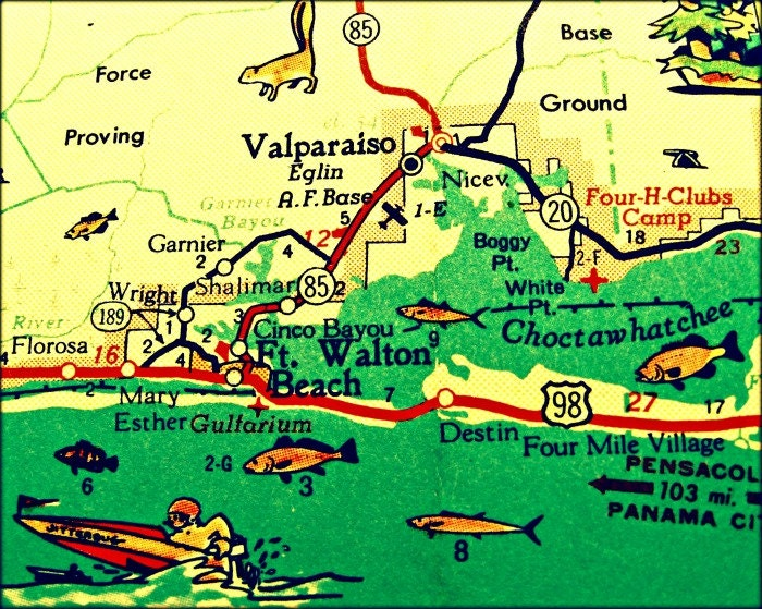 Destin Florida Map Map Photograph Destin Florida