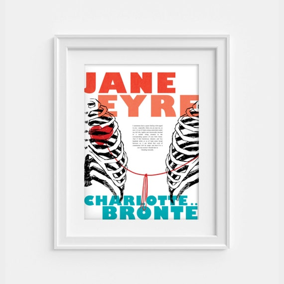 Jane Eyre quote: A string tied here under my left rib print (12,60 x 18,10)