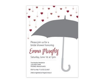Custom Bridal or Baby Shower Invitation — Umbrella & Raining Hearts