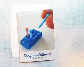 New Baby Boy Funny Congratulations Card, Game of Life