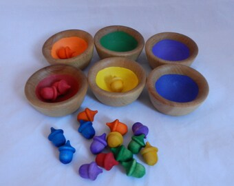 Colorful Wooden Stacking Bowls - Choose Your Own Sorting Items