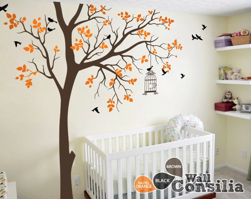 Baby nursery wall decals tree wall decal tree decals for Baby room tree mural