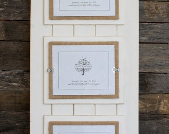 Triple 8x10 Picture Frame - Wood - Distressed Edges - Double Mats - Holds 3 - 8x10 Photos - Antique White and Burlap