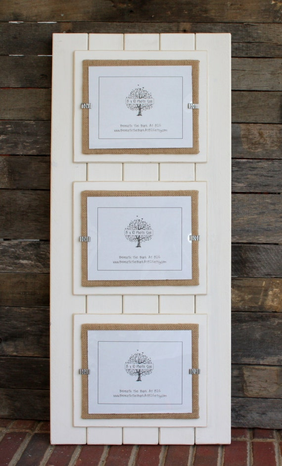 triple 8x10 picture frame wood distressed edges double mats holds 3 8x10 photos antique white and burlap from on etsy studio