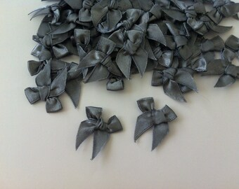 100 PCS of Satin Ribbon Bow Applique Embellishments Black Charcoal Bows