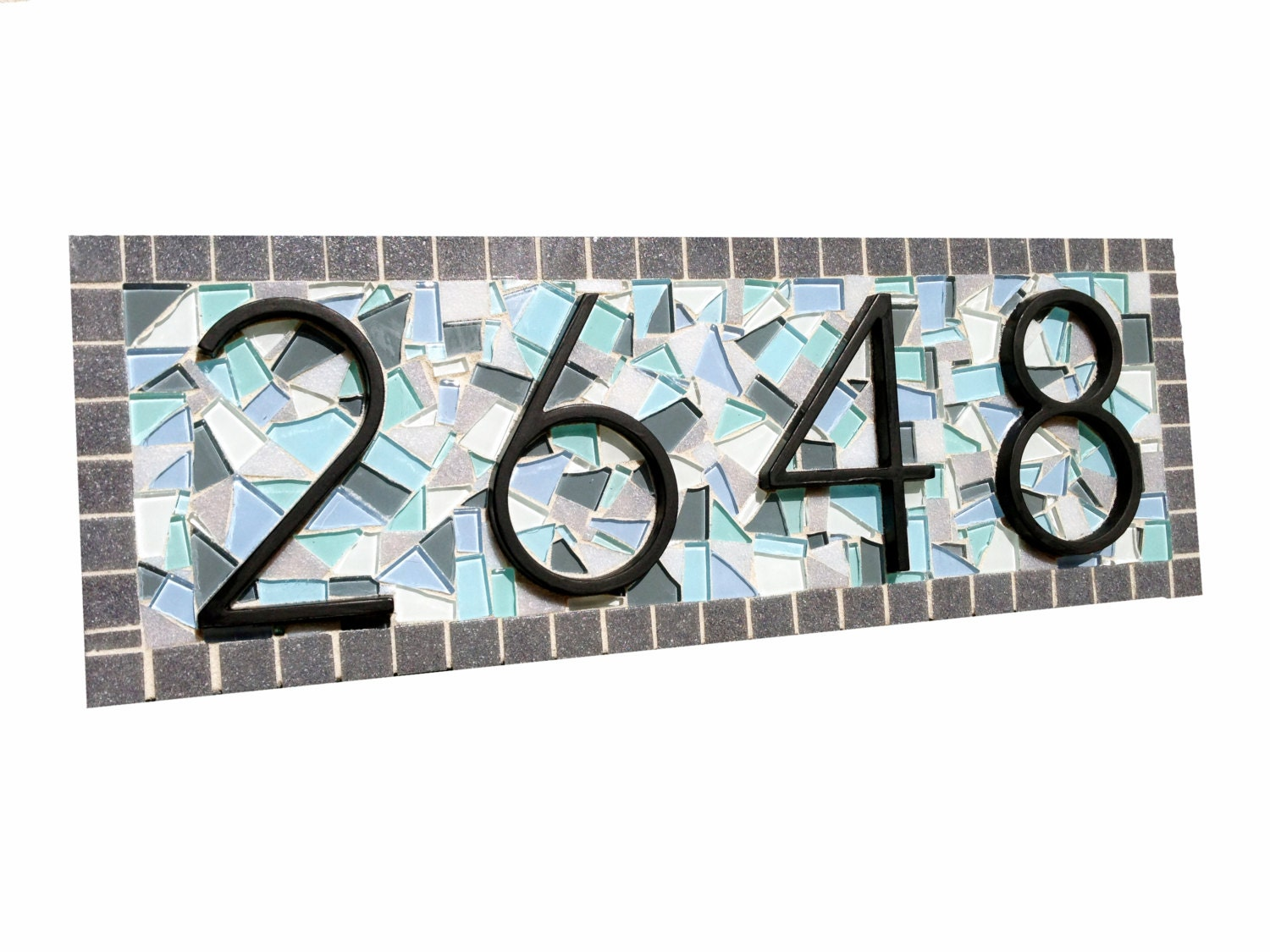Mosaic Address Plaque Outdoor House Number Sign Custom