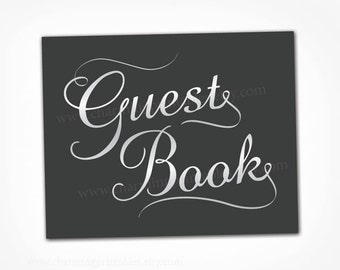 Printable Guest Book Sign - INSTANT DOWNLOAD - Digital PDF File - Black and White Wedding Calligraphy Sign - Please Sign Our Guestbook Table