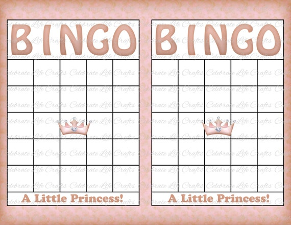 Blank Baby Shower Bingo Cards Vintage Princess Printable