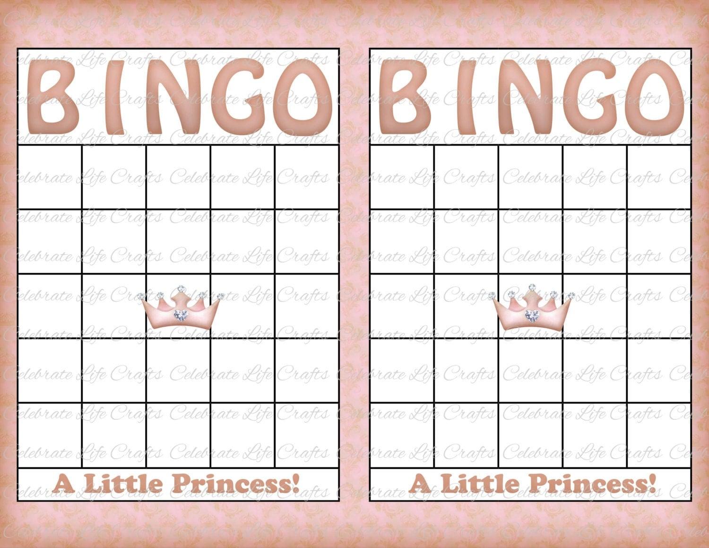 blank baby shower bingo cards vintage princess printable. Black Bedroom Furniture Sets. Home Design Ideas