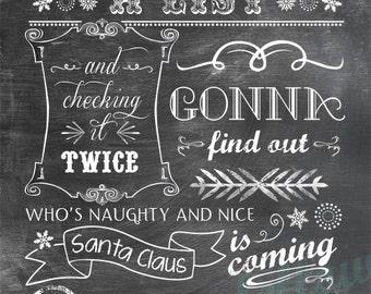 Santa Claus Is Coming To Town lyrics - Vertical Print