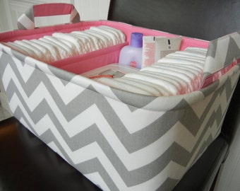 """Ex Large Diaper Caddy-14""""x 10""""x 7""""(CHOOSE Basket & Lining COLOR)Two Dividers-Baby Gift-Fabric Storage Organizer-Chevron-""""Grey Zigzag"""""""
