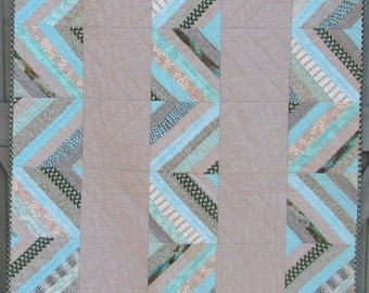 Modern Aqua and Gray Quilt Throw Chrevons Zig Zags Mothers Day