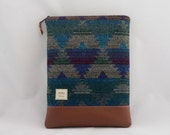 """Padded Laptop Sleeve for 13"""" MacBook Air in Teal, Blue, Burgundy, Gray with Faux Leather Bottom"""