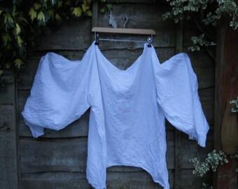 Auth RitaNoTIara white cotton silk voile Poet Artist leg of mutton sleeve shirt romantic Victorian Gothic Lagenlook steampunk governess top
