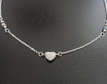 Silver Crystal Pave Heart Necklace