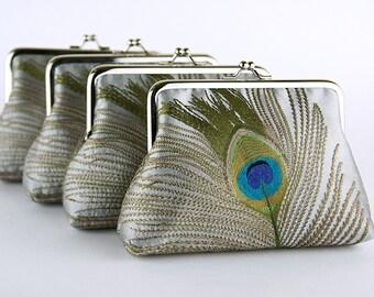 EllenVintage Silk Peacock Purse In Silver