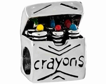 Color Crayons Spacer Bead  For European Style Charm Bracelet - Silver Plated