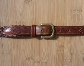 CLASSIC Vintage LL Bean Braided Brown Woven Leather Trad / Ivy League Belt Size 28.  Made in USA.