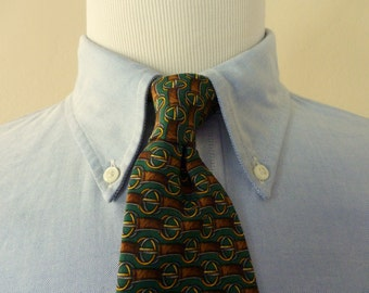 "Vintage Brooks Brothers MAKERS All Silk ""Horse Bits"" Trad / Ivy League Neck Tie.  Made in USA."
