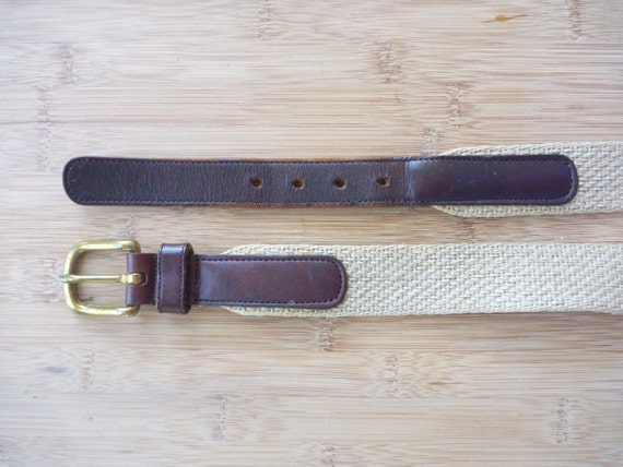 "STYLISH Vintage COACH Hemp & Bridle Leather Surcingle Belt Size 42"" / 105 cm.  Made in USA."