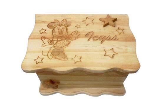 Custom personalized handmade wood burned girls keepsake for Minnie mouse jewelry box