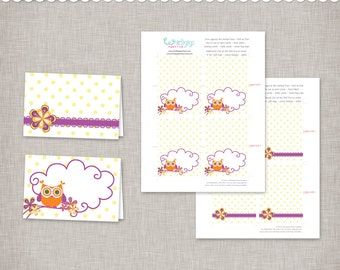 Instant Download Owl Tent Cards - printable PDF documents