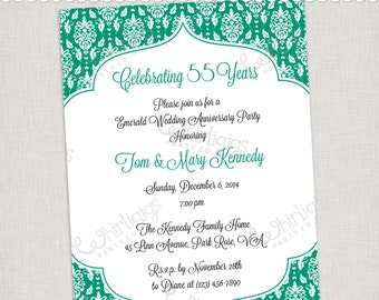 55th Emerald Anniversary Invitation - Printable Digital File or Printed Invitations with Envelopes - FREE SHIPPING