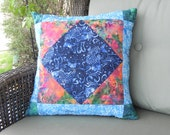 Blue Koi Quilted Pillow Cover