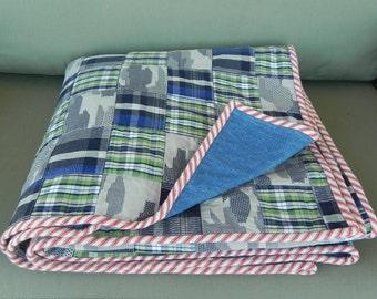 Blue Camouflage Patchwork Quilt