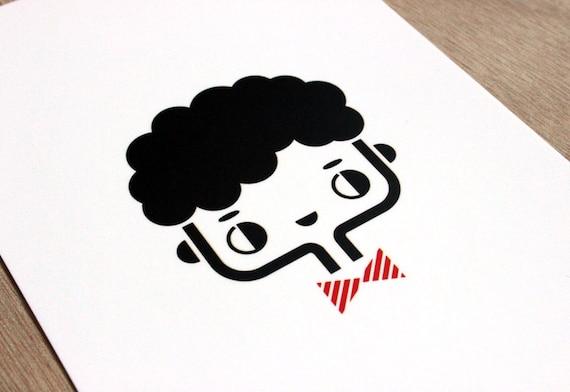 Postcard Happy - cute greeting card - kawaii illustration - minimalist home decor children bedroom - black white red - girl gift