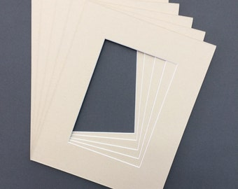 Package of (10) 8x10 Light Tan Picture  Mats with White Core Bevel Cut for 5x7  Pictures