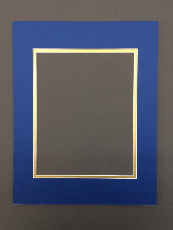 16x20 Royal Blue Amp Gold Double Picture Mat With White Core