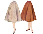 1950s Flared Skirt Pattern, McCall's 9900, Six Gore Skirt with Optional Top Stitch Trim, 1954 Vintage Sewing Pattern, Waist 24