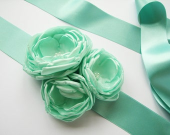 Mint green sash Belt with handmade flowers Floral wedding accessory Bridal Bridesmaid sash