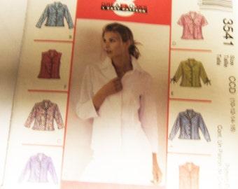 McCalls 3541 uncut womens ladies blouse pattern size 10 thru 16
