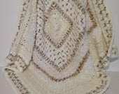 Shades of White, Cream and Beige Textured Crochet Afghan (Lap rug/throw)