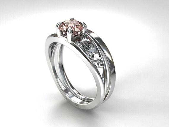 engagement ring set pink morganite engagement ring filigree