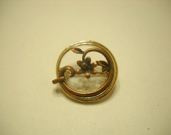 Gold Tone Circle Pin (1714) Copper Colored Flower