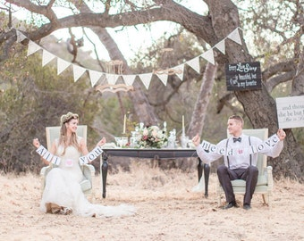 Beautiful wedding flags, ivory lace bunting, luxury garland