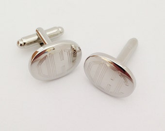 Monogram Cufflinks Oval - For Wedding Groom, Groomsmen, Husband