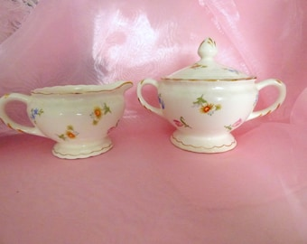 Vintage Sugar and Creamer Pope Gosser China Pinafore Pattern Floral Shabby Cottage Chic