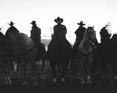 Horse Photograph Cowboys Mounted Police on Horseback Large Black & White Wall Print Silhouette